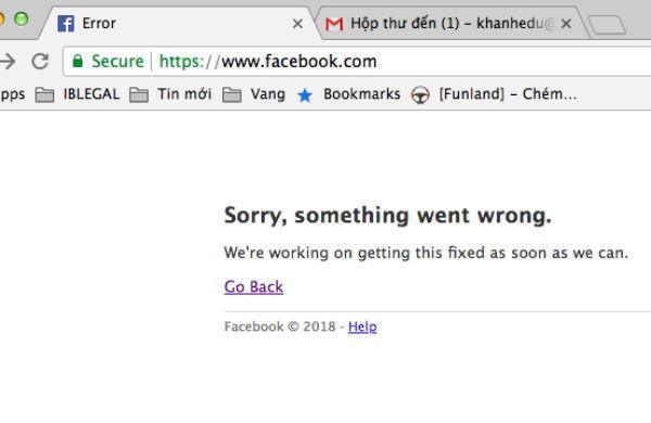 Lỗi facebook không thể đăng nhập