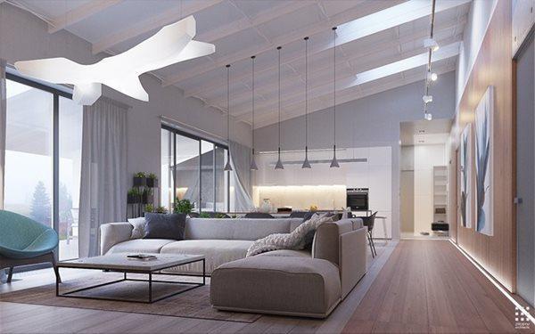Các đường thẳng đóng vai trò phân chia không gian của ngôi nhà. Hành lang gỗ đối lập với màu sắc của các không gian nhưng đóng vai trò dẫn đường đến những không gian bên trong ngôi nhà.
