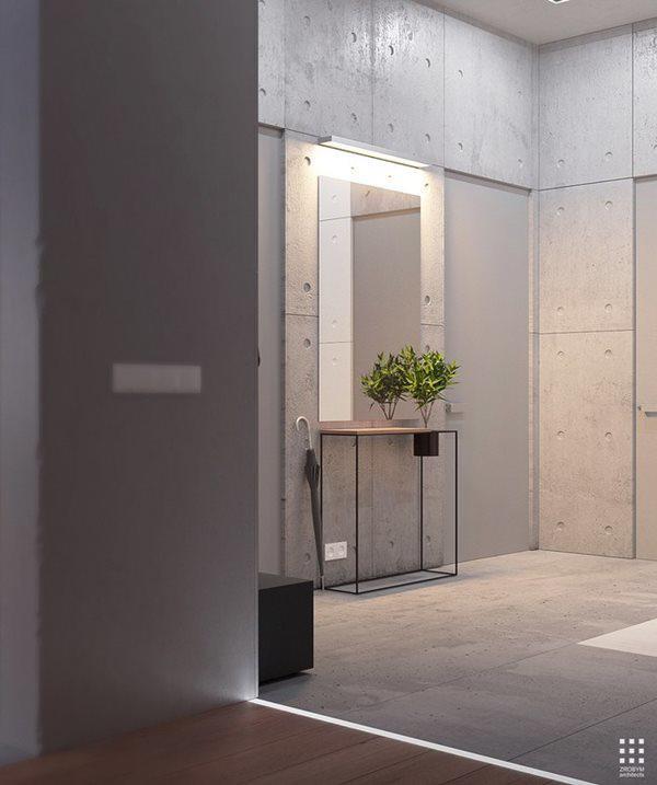 Một chiếc bàn nhỏ cùng gương soi nằm trên lối hành lang dẫn vào không gian riêng tư của ngôi nhà.