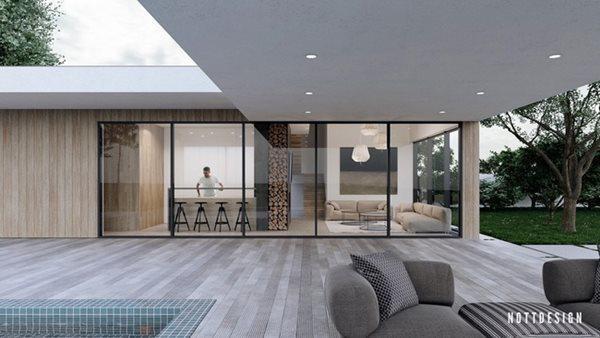 Cùng ngắm sự hòa phối tuyệt vời giữa các tấm gỗ ốp và hệ thống ghế sofa trong và ngoài tòa nhà.