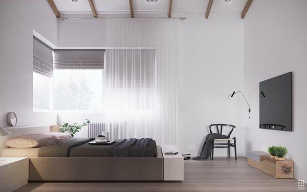 Các kệ sách xung quanh giường giúp tạo động lực đọc sách vào mỗi buổi sáng sớm hay trước khi đi ngủ.
