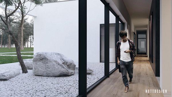 Vườn đá nhỏ này nằm sát với hành lang bên trong căn nhà
