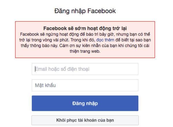 Thông báo của facebook