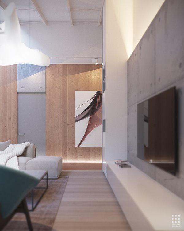 Các bức tường nhà sử dụng màu trung tính cùng những bức vẽ tạo điểm nhấn cho không gian bên trong ngôi nhà.
