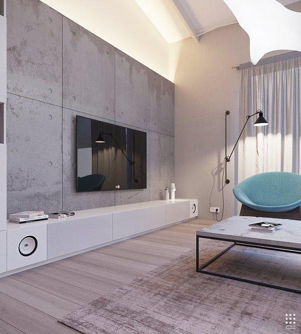 Hệ thống đèn chiều sáng kết hợp với nền tường sử dụng tông màu tối như khiến căn phòng thêm rộng ra.