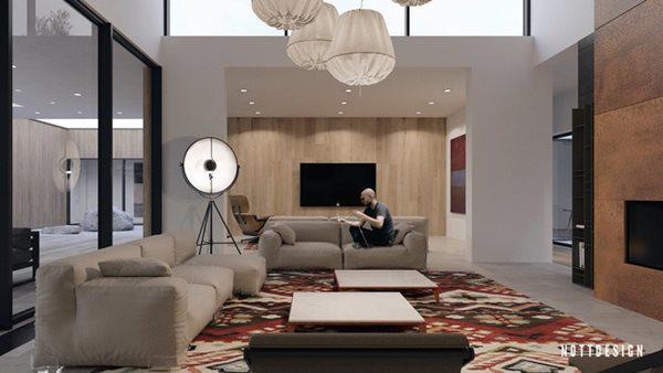 Ngôi nhà được thiết kế đơn giản với các chi tiết ốp gỗ và đá sáng màu.