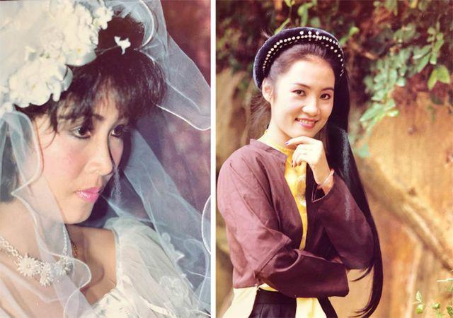 Hình ảnh Hồng Vân (trái) và Hồng Đào cách đây 30 năm. Không chỉ là cặp bài trùng trên sân khấu, họ còn kết hợp ăn ý trong công việc làm thêm: trang điểm cho các đám cưới.