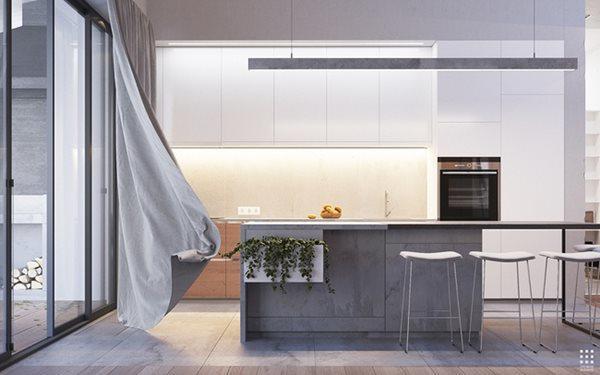 Không gian bếp hoàn toàn sử dụng kết cấu bê tông.