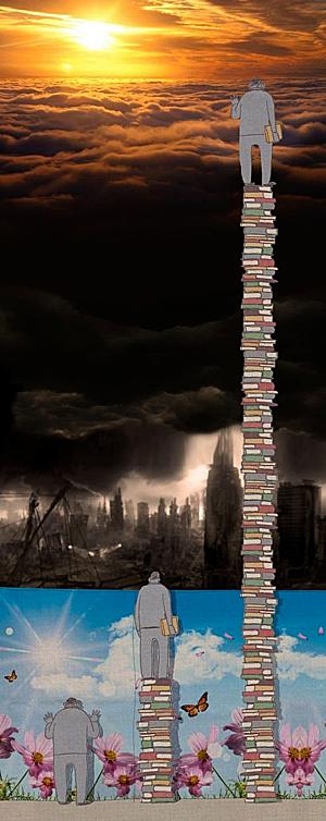 Bức tranh minh họa cho thấy chỉ những người đã tích lũy kiến thức đến một mức độ nhất định mới có thể nhìn thấy sự thật của thế giới.