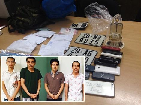 Nhóm đối tượng, tang vật trong đường dây buôn bán ma túy, tiêu thụ xe gian do Vũ Hương Thu cầm đầu.