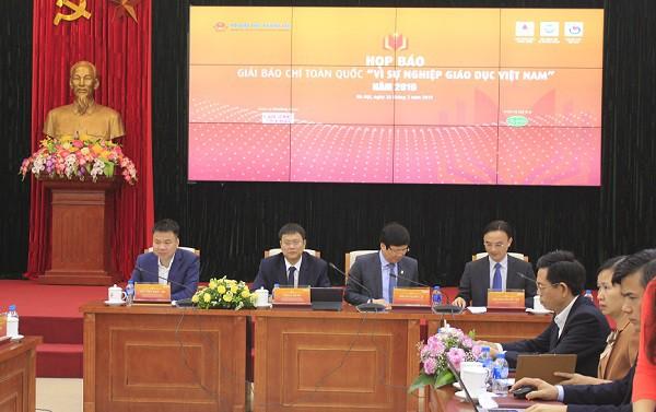 Tại buổi họp báo Giải báo chí toàn quốc Vì sự nghiệp Giáo dục Việt Nam năm 2019.