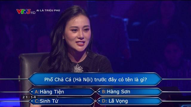 Phương Oanh quyết định dừng cuộc chơi ở câu hỏi số 10