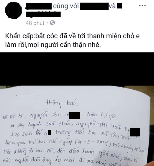 Thông tin vụ việc học sinh lớp 4 bị bắt cóc hụt ở xã Tân Trào được chia sẻ trên mạng xã hội. Ảnh: Đ.Tùy