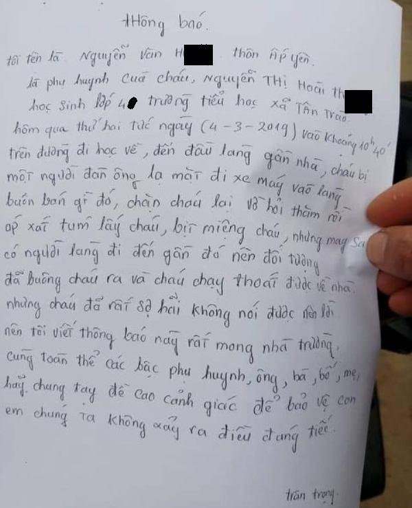 Vụ việc cháu Th. được người đàn ông đi xe máy lạ mặt hỏi đường... sau đó hiểu nhầm là bắt cóc hụt. Ảnh: TL