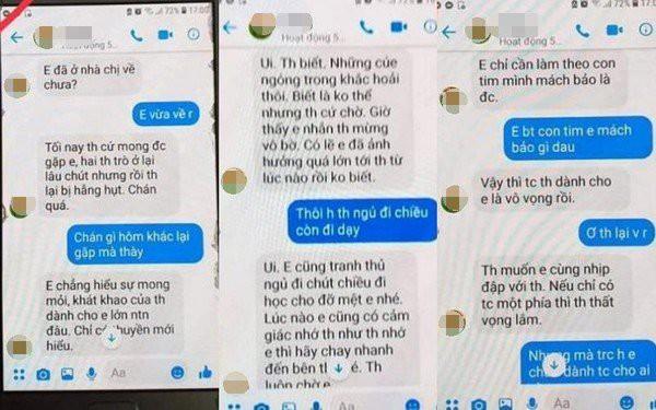 Những tin nhắn được cho là của thầy giáo gửi cho em T. Ảnh: TL