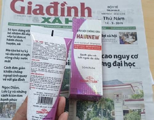 Nhãn dầu gội HairNew ghi thành phần thuốc trị nấm Ketoconazole. Đây là thành phần không được phép có trong thành phần công thức sản phẩm mỹ phẩm (tham chiếu số 1380, Phụ lục II – Hiệp định mỹ phẩm ASEAN).