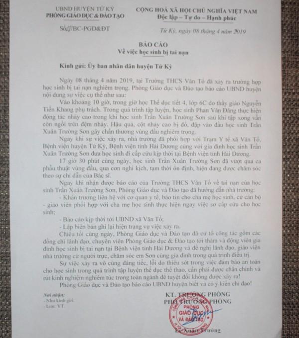 Báo cáo sự việc của Phòng GD&ĐT huyện Tứ Kỳ. Ảnh: Đ.Tùy