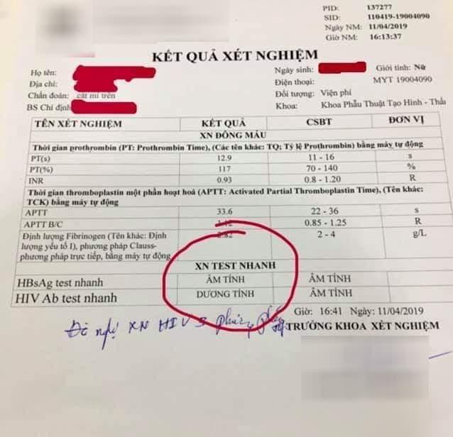 Kết quả xét nghiệm thông báo cô gái đã nhiễm HIV