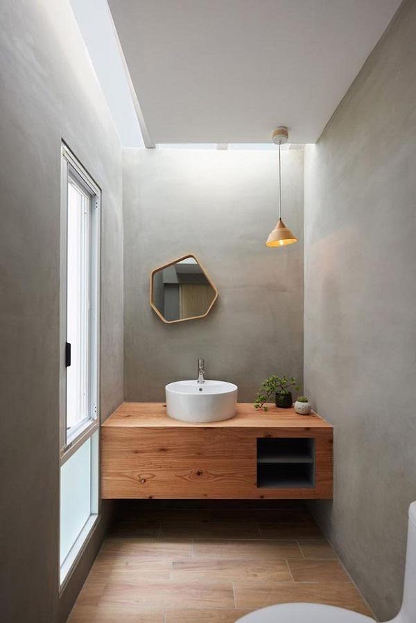 Nhà vệ sinh cũng sử dụng nội thất gỗ, đơn giản mà vẫn hiện đại.