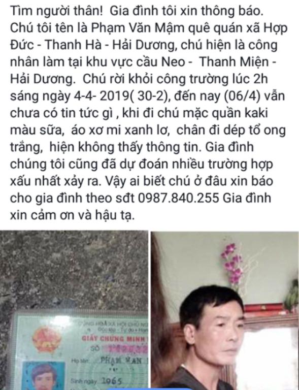 Thông tin tìm ông Mậm được người thân đưa lên mạng xã hội nhờ tìm kiếm 10 ngày trước. Ảnh: Đ.Tùy
