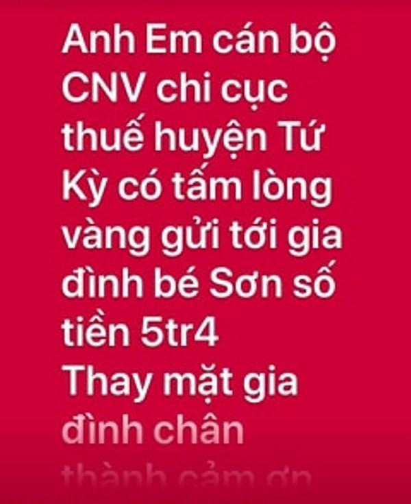Những số tiền của bạn đọc hảo tâm kêu gọi thông qua mạng xã hội đã được chuyển đến tận tay gia đình chị Nền