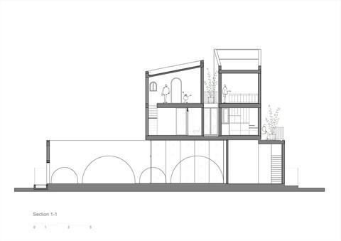 Mặt cắt thiết kế ngôi nhà.