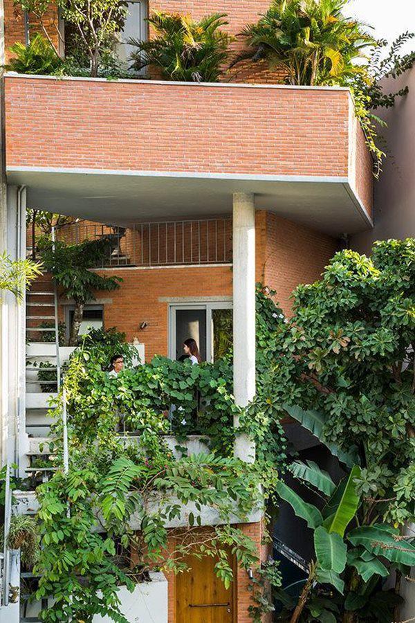 Ngoài ra, cây xanh ở mặt tiền của ngôi nhà còn giúp làm giảm nhiệt trực tiếp từ ánh mặt trời. Vì vậy, trong ngôi nhà lúc nào cũng có không khí trong lành mà không cần sử dụng nhiều thiết bị điện.