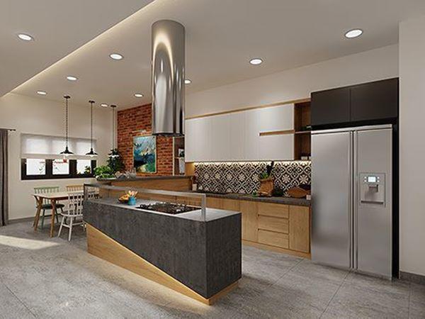 Khu vực bếp và nấu nướng được dồn lên tầng 2 bố trí gọn gàng và tiện lợi trong việc di chuyển.
