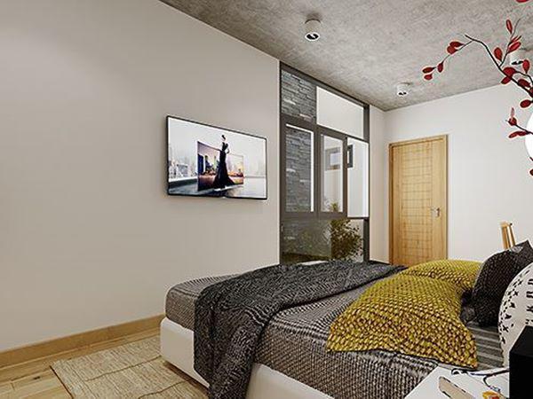 Phòng ngủ của vợ chồng gia chủ với thiết kế sang trọng.