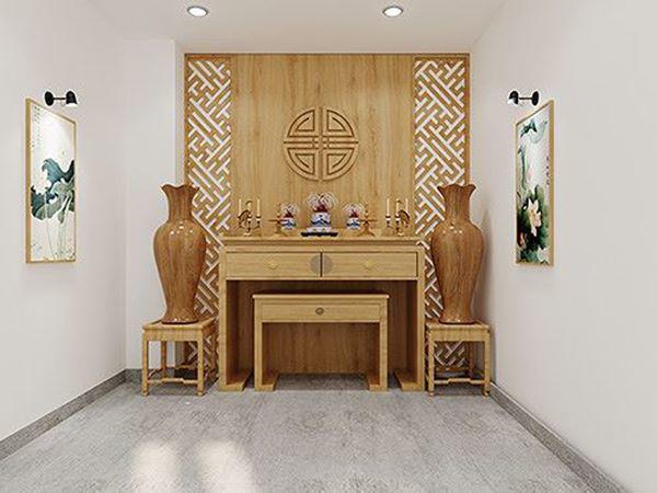Phòng thờ nhỏ với không gian yên tĩnh, trang nghiêm.
