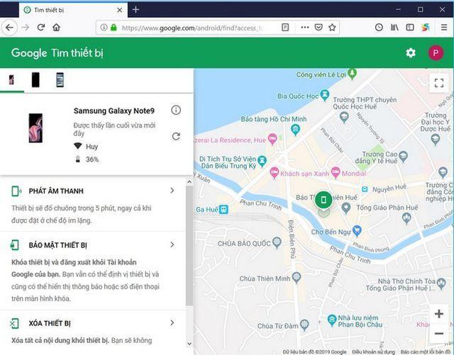 Vị trí màu xanh trên bản đồ chính là vị trí của smartphone được xác định. Bạn có thể nhấn vào đây để biến cụ thể hơn về địa điểm