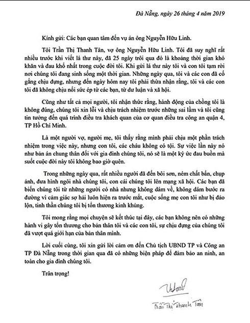 Bức tâm thư được bà Trần Thị Thanh Tân gửi đến Công an TP Đà Nẵng ngày 26.4.