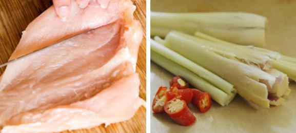 Bước 2: Nấm rơm gọt bỏ phần dơ ở phía đầu, ngâm muối, rửa sạch. Rau mùi, ớt, lá chanh rửa sạch cắt nhỏ.