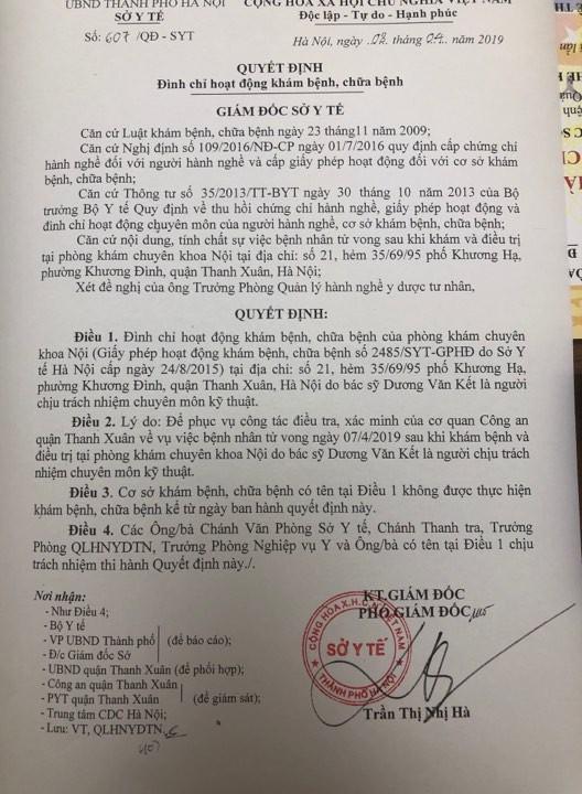 Quyết định đình chỉ hoạt động khám, chữa bệnh phòng khám Nội Kết Châu.