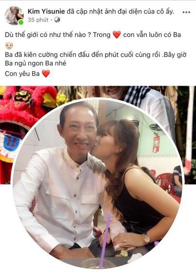 Con gái nghệ sĩ Lê Bình cũng chia sẻ tin buồn về cha trên trang cá nhân.