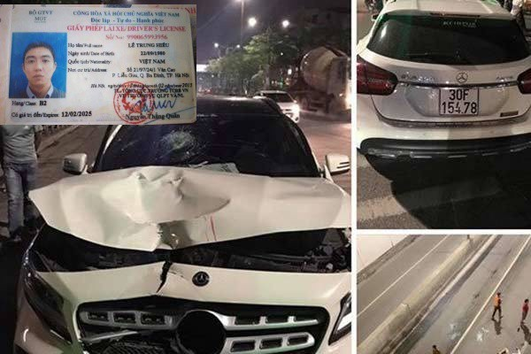 Chiếc xe và hiện trường nơi xảy ra vụ tai nạn.
