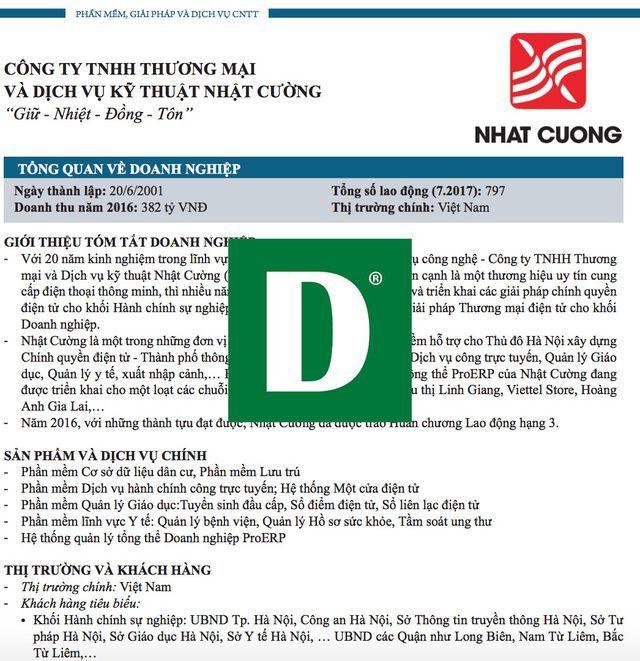 Phần giới thiệu Nhật Cường tại kỷ yếu của Vinasa về 50 doanh nghiệp CNTT hàng đầu Việt Nam