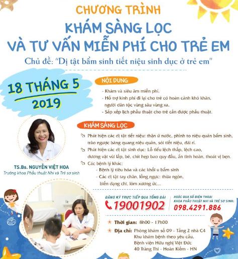Chương trình siêu âm, khám miễn phí các bệnh về tiết niệu, sinh dục cho trẻ em.
