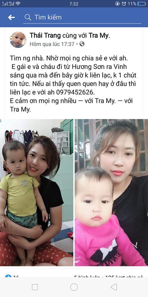 Gia đình liên tục đăng hình ảnh và thông tin của mẹ con chị My nhờ cộng đồng mạng tìm kiếm, giúp đỡ.