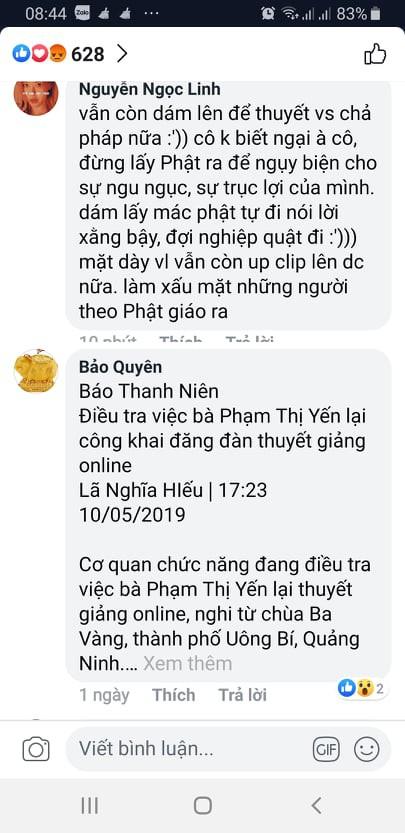 Một đoạn comment của Phật tử khi xem clip thuyết giảng của bà Yến tối 7/5/2019