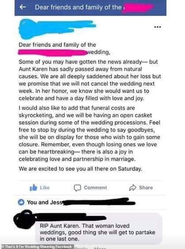 Bài đăng của cô dâu (nguồn: Facebook)