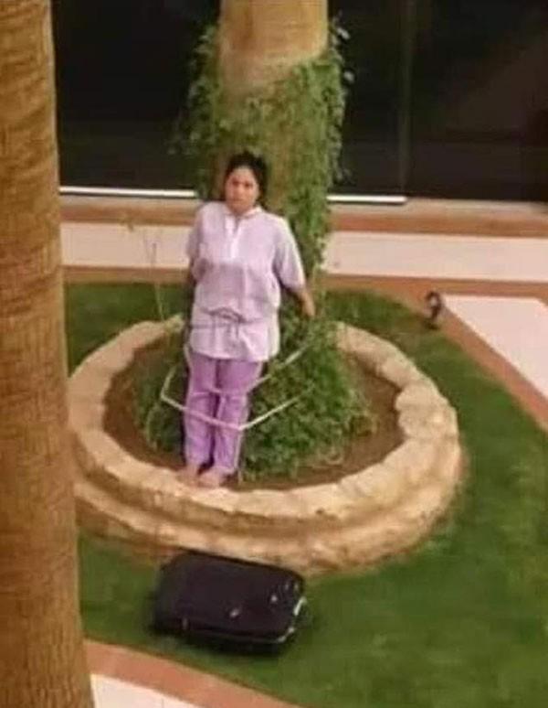 Lovely Acosta Baruelo bị trói vào gốc cây hôm 9/5 ở Riyadh, Arab Saudi. Ảnh: ViralPress.