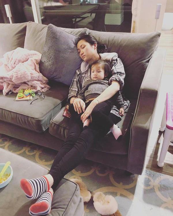 Vợ Lam Trường mệt mỏi khi phải chăm con một mình trên đất Mỹ.