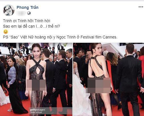 Đạo diễn Trần Ngọc Phong cảm thán trước bức ảnh của Ngọc Trinh ở Cannes: Trinh ơi Trinh hỡi Trinh hời. Sao em lại để cạn lời thế ni?...