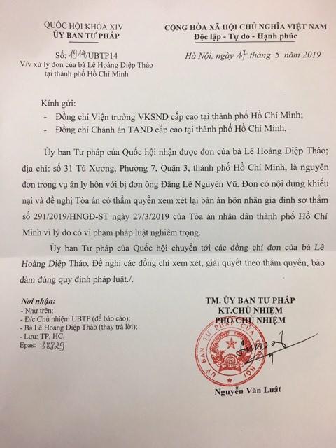 Văn bản của Ủy ban Tư pháp của Quốc hội gửi Viện trưởng VKSND và Chánh án TAND cấp cao tại TP HCM.
