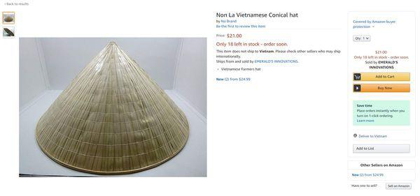 Nón lá được bán trên Amazon với giá 21 USD