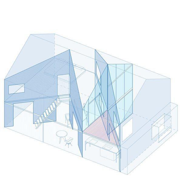 Mọi căn phòng và không gian bên trong đều được thiết kế khá méo mó