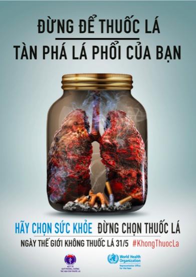 Thuốc lá gây nguy hiểm cho sức khoẻ lá phổi
