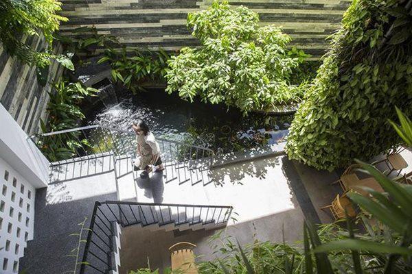 Hồ cá Koi ở tầng 1 chống nóng và trang trí cho khách sạn.