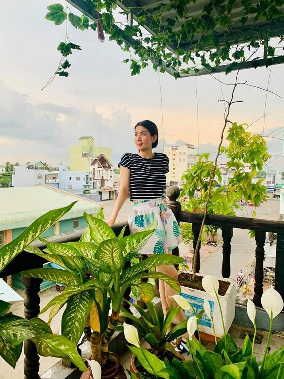 Cô chọn trồng các loại rau dễ tính và phù hợp bữa cơm hàng ngày như cải xanh, xà lách tím, rau muống và mướp.